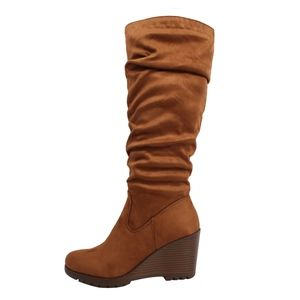 Chestnut Faux Suede Slouchy Stacked Wedge Knee